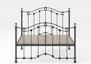 Clarina Iron/Metal Bed in Satin Black with brass details shown with slatted frame - Thumbnail