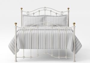 Clarina Iron/Metal Bed in Glossy Ivory with brass details - Thumbnail