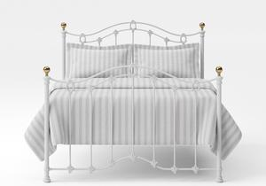 Clarina Iron/Metal Bed in Satin White with brass details - Thumbnail