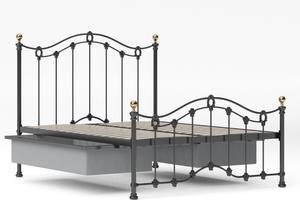 Clarina Low Footend Iron/Metal Bed in Satin Black with brass details shown with underbed storage - Thumbnail