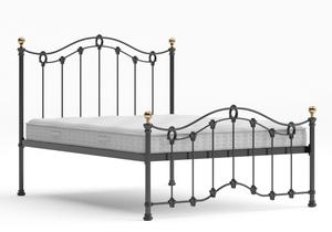 Clarina Low Footend Iron/Metal Bed in Satin Black with brass details shown with Juno 1 mattress - Thumbnail
