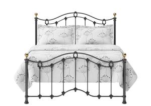 Clarina Low Footend Iron/Metal Bed in Satin Black with brass details  - Thumbnail