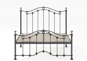 Clarina Low Footend Iron/Metal Bed in Satin Black with brass details shown with slatted frame - Thumbnail