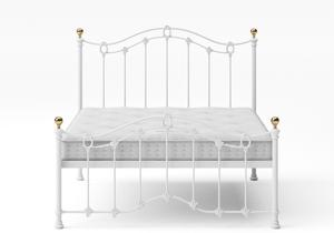 Clarina Low Footend Iron/Metal Bed in Satin White with brass details shown with Juno 1 mattress - Thumbnail