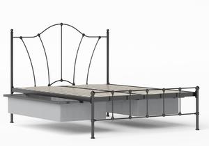 Claudia Iron/Metal Bed in Satin Black shown with underbed storage - Thumbnail