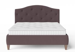 Daniella Upholstered bed in Aubergine fabric with buttoning shown with Juno 1 mattress - Thumbnail