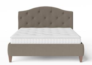 Daniella Upholstered bed in Grey fabric with buttoning shown with Juno 1 mattress - Thumbnail