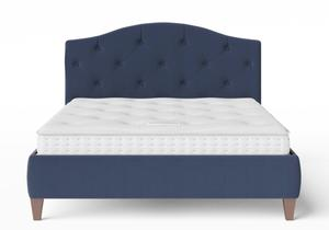 Daniella Upholstered bed in Navy fabric with buttoning shown with Juno 1 mattress - Thumbnail