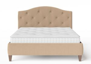 Daniella Upholstered bed in Straw fabric with buttoning shown with Juno 1 mattress - Thumbnail