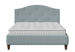 Daniella Upholstered bed in Wedgewood fabric with buttoning shown with Juno 1 mattress - Thumbnail