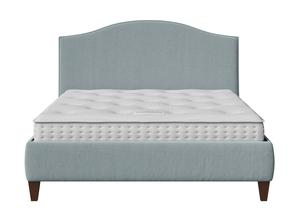Daniella Upholstered bed in Wedgewood fabric with piping shown with Juno 1 mattress - Thumbnail