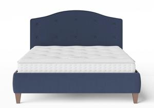 Daniella Upholstered bed in Navy fabric shown with Juno 1 mattress - Thumbnail