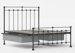 Edwardian Iron/Metal Bed in Satin Black shown with underbed storage - Thumbnail