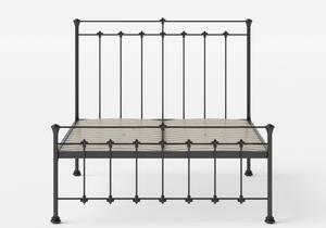 Edwardian Iron/Metal Bed in Satin Black shown with slatted frame - Thumbnail