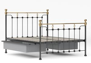Glenholm Iron/Metal Bed in Satin Black with Brass details shown with underbed storage - Thumbnail