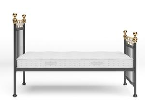 Glenholm Iron/Metal Bed in Satin Black with Brass details shown with Juno 1 mattress - Thumbnail
