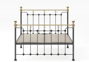 Glenholm Iron/Metal Bed in Satin Black with Brass details shown with slatted frame - Thumbnail
