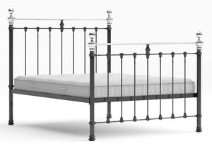 Hamilton Iron/Metal Bed in Satin Black with Chrome details shown with Juno 1 mattress - Thumbnail