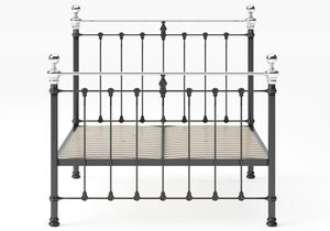 Hamilton Iron/Metal Bed in Satin Black with Chrome details shown with slatted frame - Thumbnail