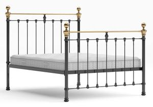 Hamilton Iron/Metal Bed in Satin Black with Brass details shown with Juno 1 mattress - Thumbnail