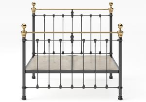 Hamilton Iron/Metal Bed in Satin Black with Brass details shown with slatted frame - Thumbnail