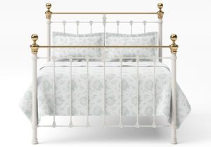 Hamilton Iron/Metal Bed in Glossy Ivory with Brass details  - Thumbnail