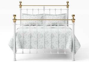 Hamilton Iron/Metal Bed in Satin White with Brass details  - Thumbnail