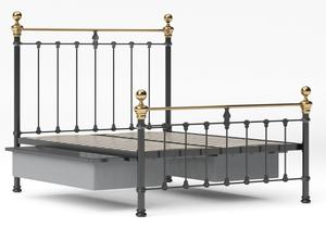 Hamilton Iron/Metal Bed in Satin Black with Brass details - Thumbnail