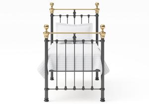 Hamilton Single Iron/Metal Bed in Satin Black with Brass details  - Thumbnail