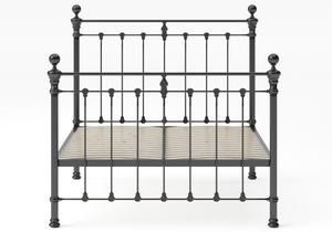Hamilton Iron/Metal Bed in Satin Black with Black painted details shown with slatted frame - Thumbnail