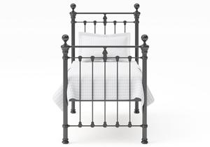 Hamilton Single Iron/Metal Bed in Satin Black with black painted details shown with Juno 1 mattress - Thumbnail
