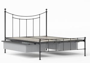 Isabelle Iron/Metal Bed in Satin Black shown with underbed storage - Thumbnail