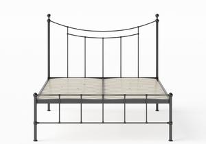 Isabelle Iron/Metal Bed in Satin Black shown with slatted frame - Thumbnail