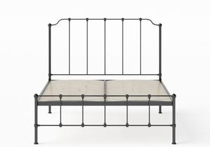 Julia Iron/Metal Bed in Satin Black shown with slatted frame - Thumbnail
