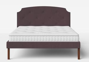 Kobe Upholstered Bed in Aubergine fabric with buttoning shown with Juno 1 mattress - Thumbnail