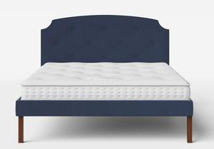 Kobe Upholstered Bed in Navy fabric with buttoning shown with Juno 1 mattress - Thumbnail