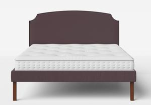 Kobe Upholstered Bed in Aubergine fabric with piping shown with Juno 1 mattress - Thumbnail