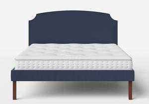 Kobe Upholstered Bed in Navy fabric shown with Juno 1 mattress - Thumbnail