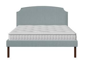 Kobe Upholstered Bed in Wedgewood fabric shown with Juno 1 mattress - Thumbnail