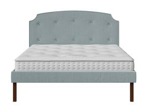 Kobe Upholstered Bed in Wedgewood fabric with buttoning shown with Juno 1 mattress - Thumbnail