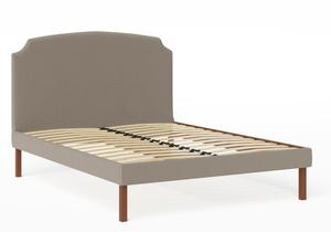 Kobe Upholstered Bed in Grey fabric shown with slatted frame - Thumbnail