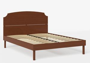 Kobe Wood Bed in Dark Cherry shown with slatted frame - Thumbnail