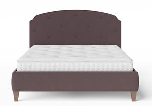 Lide Upholstered Bed in Aubergine fabric with buttoning shown with Juno 1 mattress - Thumbnail