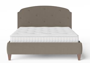 Lide Upholstered Bed in Grey fabric with buttoning shown with Juno 1 mattress - Thumbnail
