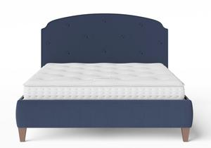 Lide Upholstered Bed in Navy fabric with buttoning shown with Juno 1 mattress - Thumbnail