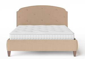 Lide Upholstered Bed in Straw fabric with buttoning shown with Juno 1 mattress - Thumbnail