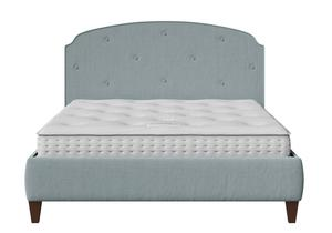 Lide Upholstered Bed in Wedgewood fabric with buttoning shown with Juno 1 mattress - Thumbnail