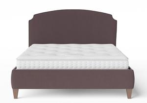 Lide Upholstered Bed in Aubergine fabric with piping shown with Juno 1 mattress - Thumbnail