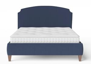 Lide Upholstered Bed in Navy fabric with piping shown with Juno 1 mattress - Thumbnail