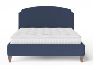 Lide Upholstered Bed in Navy fabric shown with Juno 1 mattress - Thumbnail
